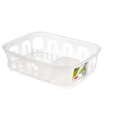 Obdélníkový plastový odkapávač na nádobí, tranparentní