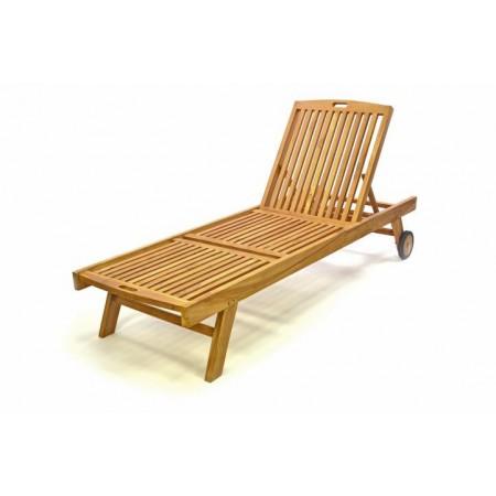 Luxusní zahradní lehátko z týkového dřeva, nastavitelné opěradlo
