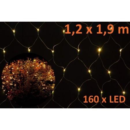 Vánoční osvětlení - světlená síť venkovní / vnitřní, teple bílá, 1,9 x 1,2 m,