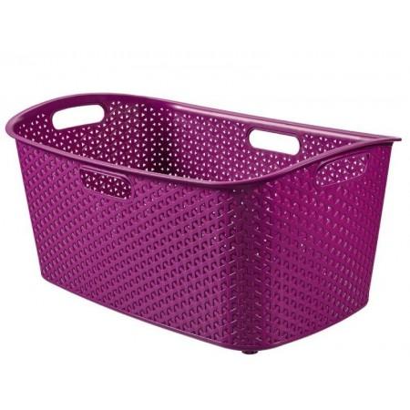 Plastový koš na prádlo s úchyty 47 l - moderní vzhled, fialový