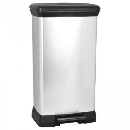 Vysoký odpadkový koš s pedálovým mechanismem 50 l, stříbrná / černá