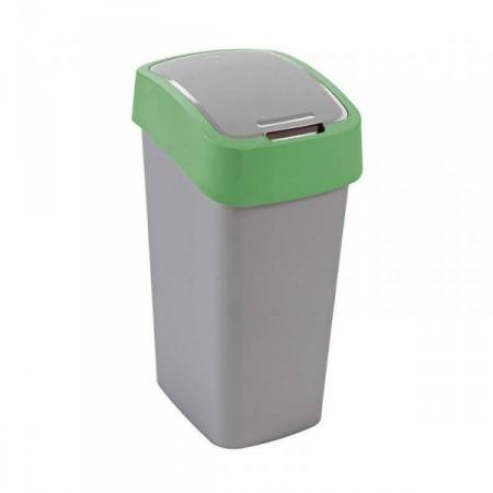 Vysoký odpadkový koš s víkem 50 l, 2 stupně otevření, zelená / šedá