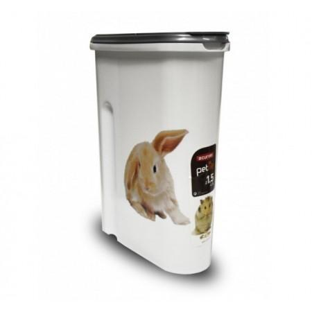 Plastový box na krmivo s potiskem králík, na 1,5 kg krmiva