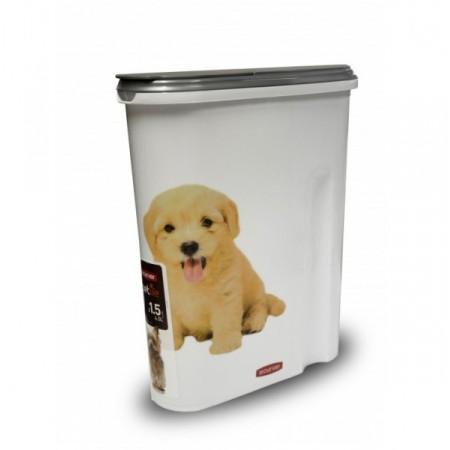 Plastová dóza na granule pro psy, na 1,5 kg krmiva