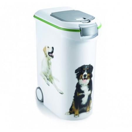 Velký plastový box na krmivo, potisk psů, na 20 kg krmiva