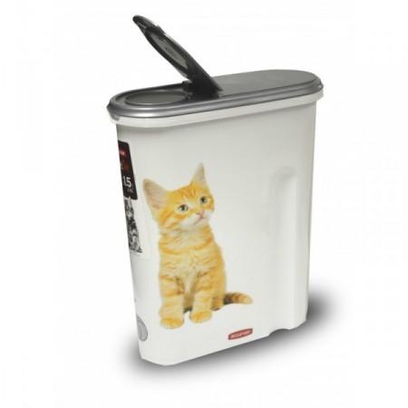 Plastový box na krmivo, potisk kočky, na 1,5 kg granulí