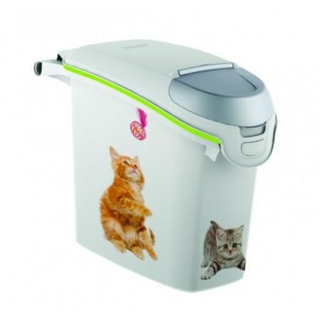Plastový box na krmivo, potisk kočky, na 6 kg granulí