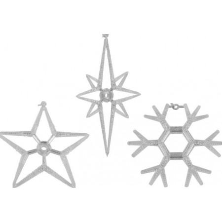 Vánoční svítící výzdoba na okno s LED diodami, vločky, hvězdy, 3 ks
