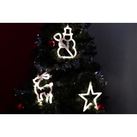 Vánoční svítící ozdoby na okno z LED diod, hvězda, sněhulák, sob