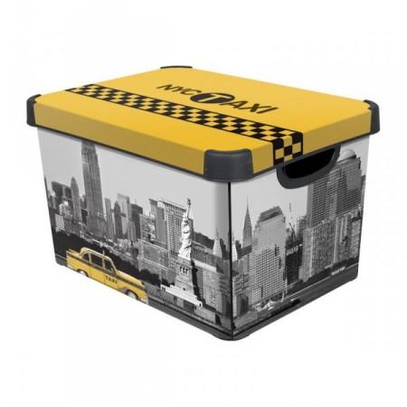 Plastový úložný box s víkem velký, potisk New York