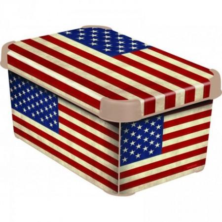 Plastový skladovací box s víkem malý, potisk USA