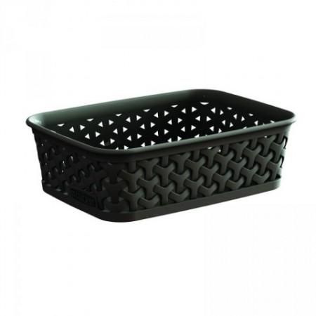 Moderní plastový košík na drobné předměty - polyratan, hnědý
