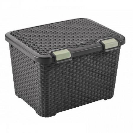 Designový plastový úložný box uzaviratelný 43 l, hnědý