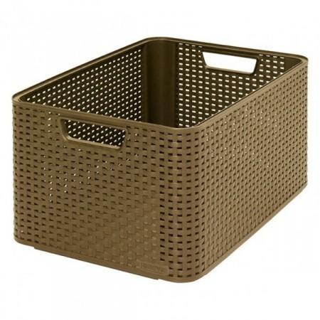 Velký plastový úložný box bez víka, kávový