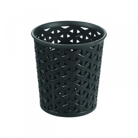 Úložný plastový kelímek na stůl, moderní vzhled, černý