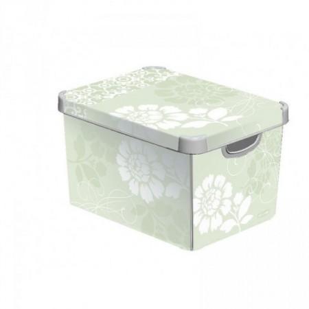 Designový plastový úložný box s potiskem malý, krémový