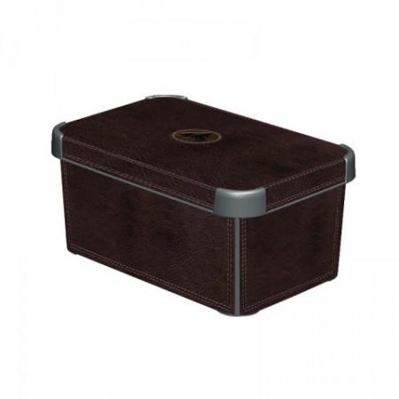Designový úložný box s víkem malý, imitace kůže