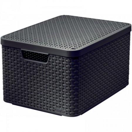 Plastový úložný box s víkem velký, imitace ratanu, hnědý