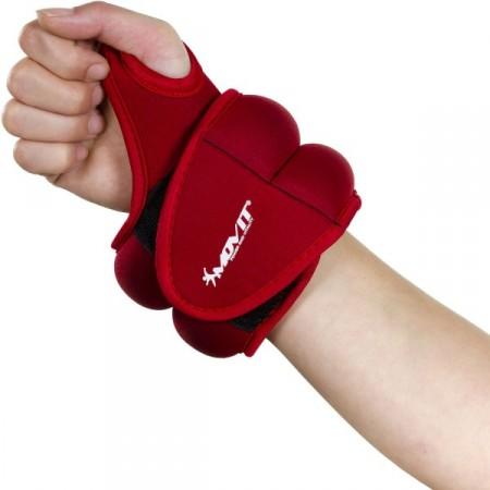 Neoprenová kondiční zátěž na zápěstí a kotníky, 2 x 1 kg, červená