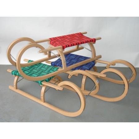Dětské dřevěné sáně s textilním sedlem - rohačky, 110 cm