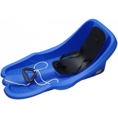 Plastové boby s opěradlem a bezpečnostními popruhy, modré