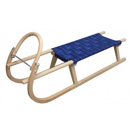 Dřevěné sáně s kovovými lyžinami 125 cm, modré