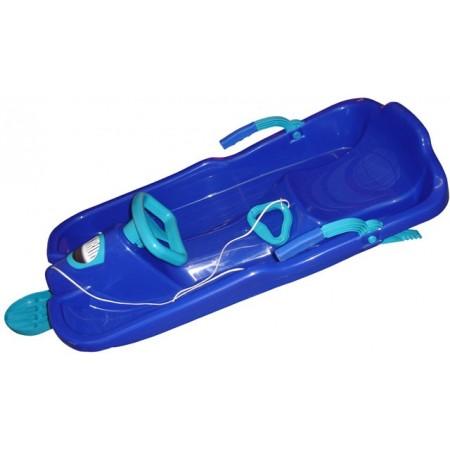 Plastový řiditelný skibob s volantem, modrý