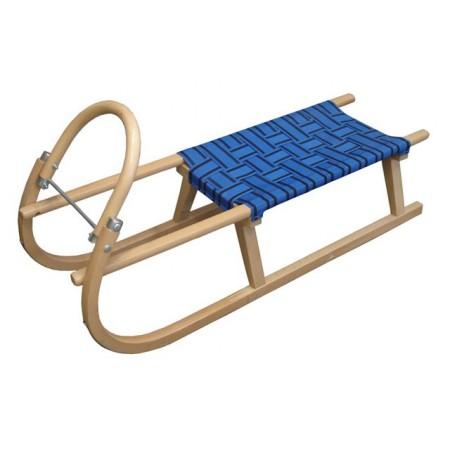 Dřevěné sáňky s textilním sedákem 110 cm, modré
