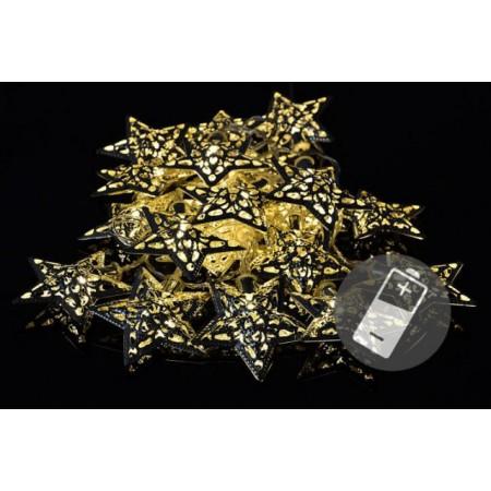 Vánoční svítící výzdoba na baterie, vnitřní, 20 hvězd s LED diodami
