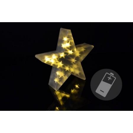 Vánoční hvězda s 3D efektem - 35 cm, 20 LED, teplá bílá