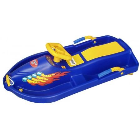 Dětské boby s volantem a brzdami Snow Boat, modré