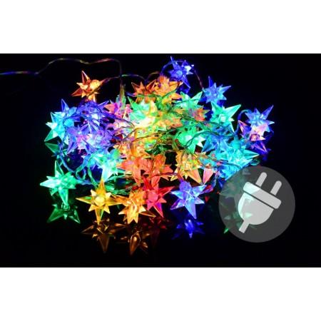 Vánoční LED dekorace - řetěz, barevné hvězdy, 10 m