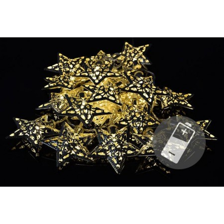 Vánoční LED řetěz se svítícími hvězdami, teple bílá, 1,4 m