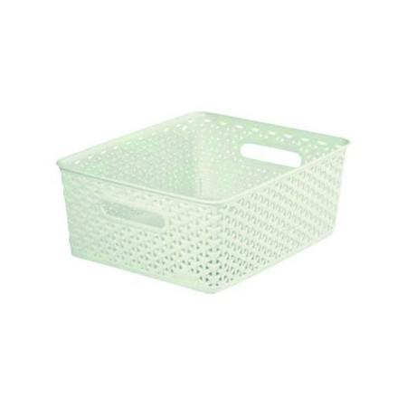 Plastový úložný box bez víka, středně velký, krémový