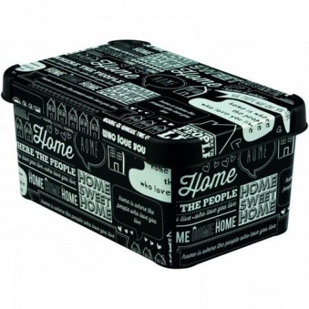 Moderní úložný box s víkem, malý, černá + potisk