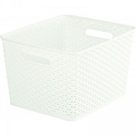 Plastový box s držadly pro uložení věcí, velký, krémový