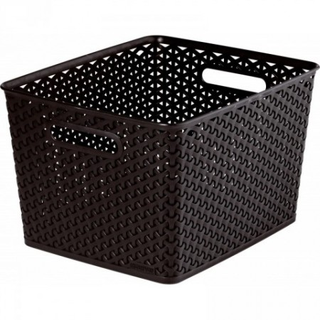 Plastový úložný box v moderním designu, velký, hnědý