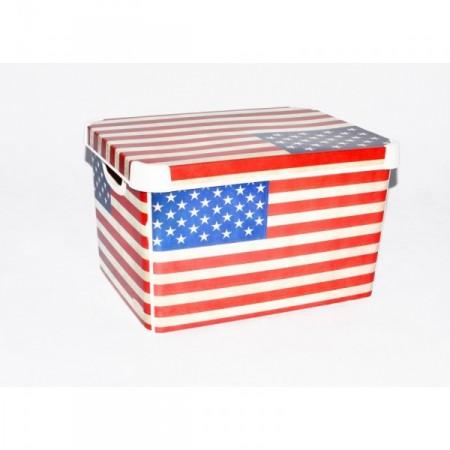 Plastový skladovací box s víkem, velký, potisk USA