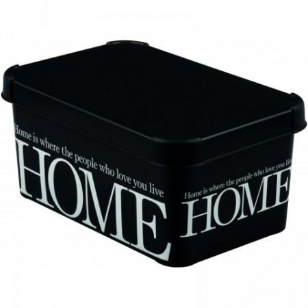 Úložný box s víkem malý, zaoblené rohy, černá + nápisy