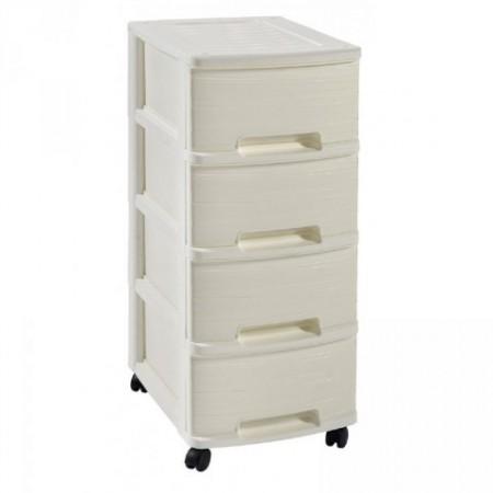 Plastová skříňka se 4 šuplíky do domácnosti / kanceláře, krémová