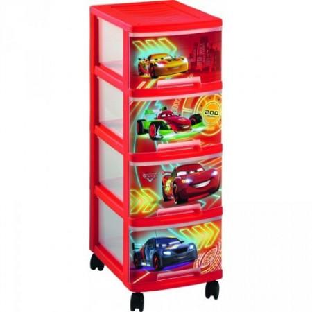 Plastová skříňka do dětského pokoje, motiv auta
