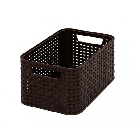 Úložný plastový box - imitace ratanu, malý, hnědý