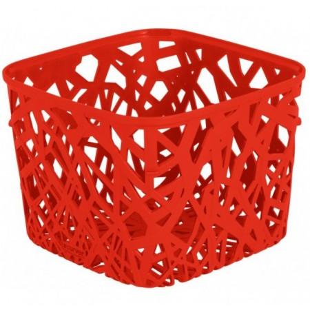 Designový plastový úložný košík na stůl - červený