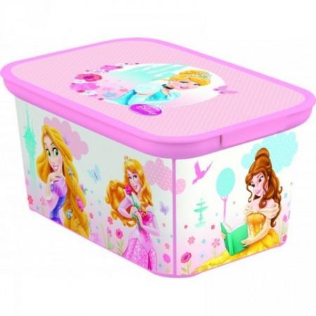 Plastový úložný box do dětského pokoje, malý, motiv princezny