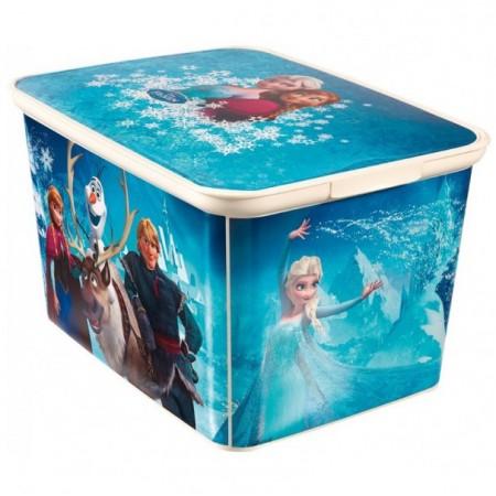 Plastový úložný box do dětského pokoje velký, potisk Ledové království