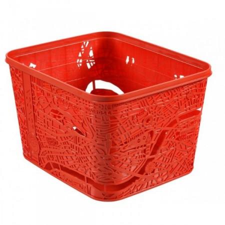 Designový úložný box, plastový, mapa Londýna, červený