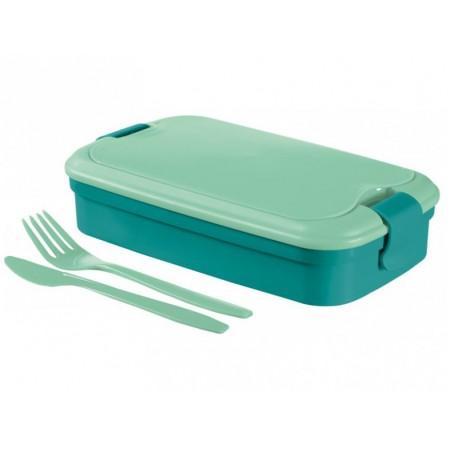 Cestovní box na jídlo vč. příboru, modrý