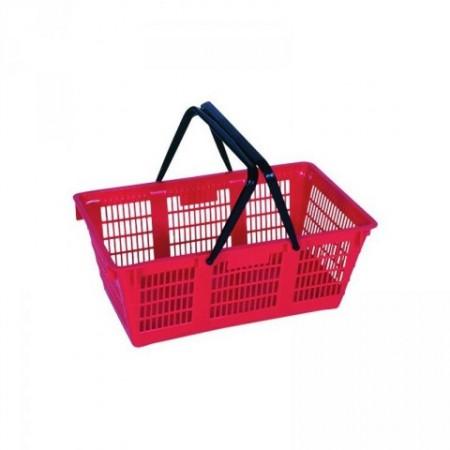 Nákupní košík plastový se sklopnými úchyty, červený