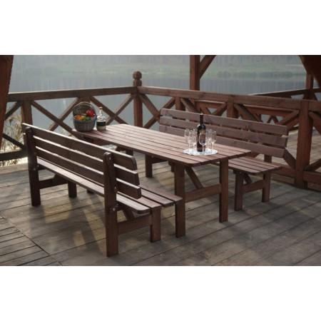 Dřevěný zahradní stůl, mořená borovice, tmavě hnědá