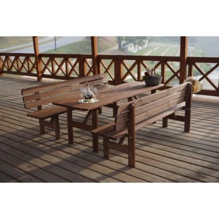 Dřevěná lavice z masivu 180 cm, mořená borovice, tmavě hnědá